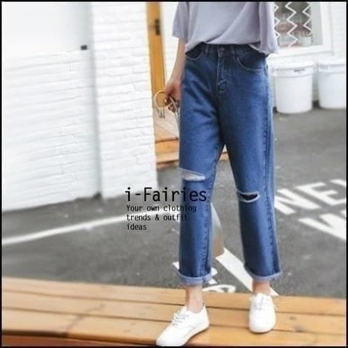 牛仔長褲 破洞九分闊腿褲高腰牛仔褲~SL31237~