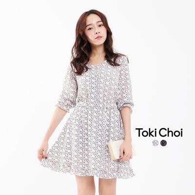 荷葉裙襬印花縮腰洋裝~S.M^(6021002^)