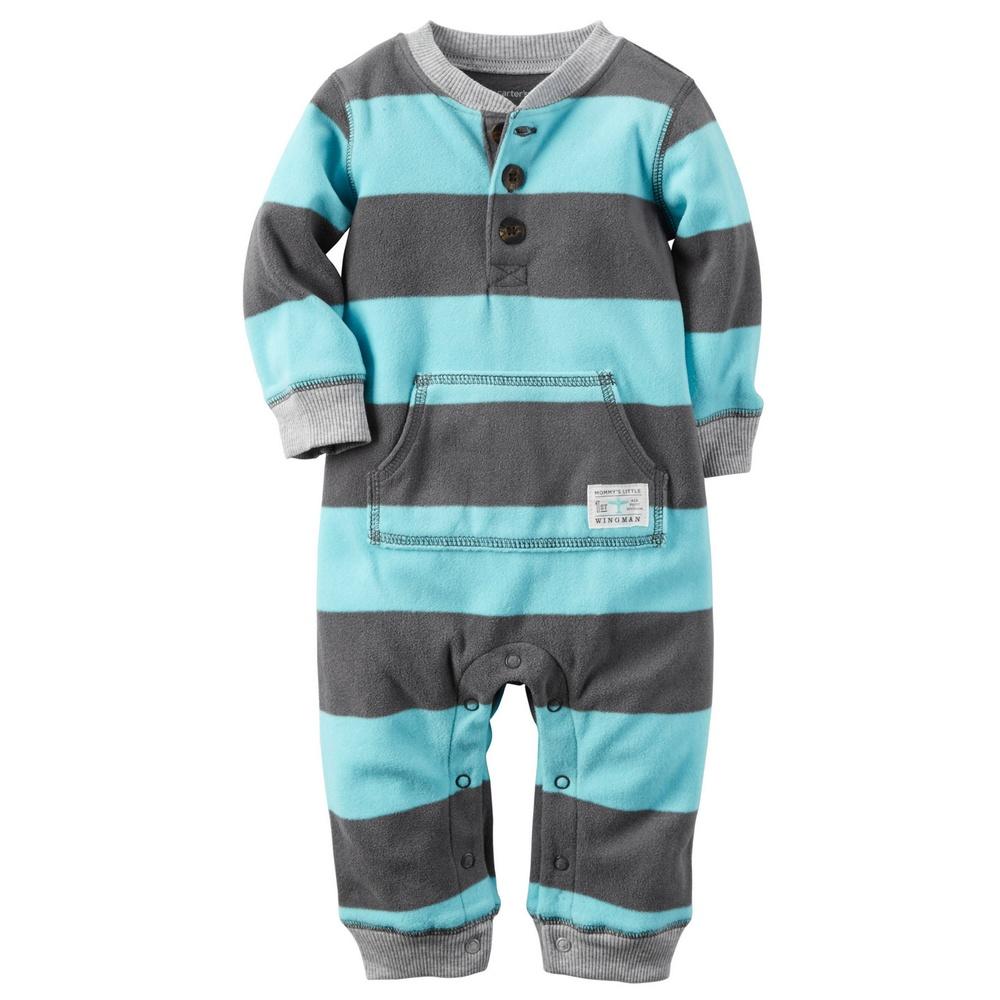 美國 Carter s 卡特 男 男嬰兒男寶寶 半前釦刷毛未包腳長袖連身兔裝~118G70