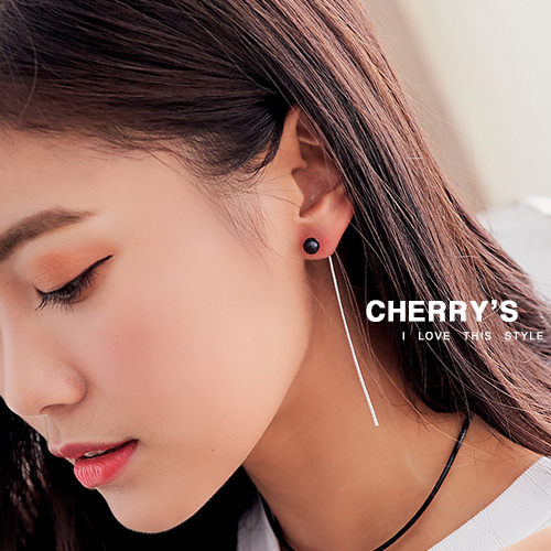 925銀黑珍珠耳線 耳環 ~櫻桃飾品~~10454 ~