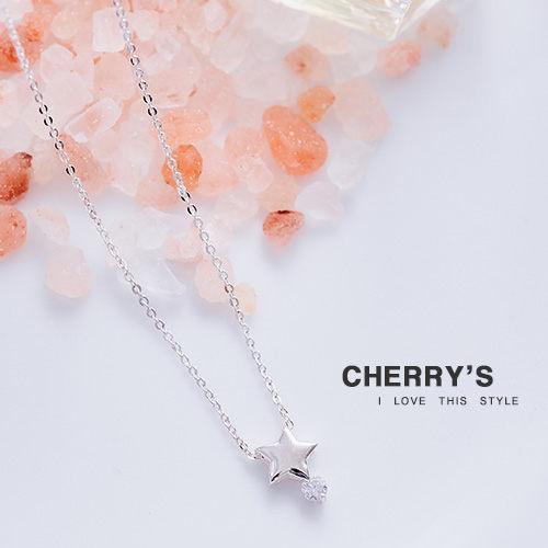 925銀鋯石五角星鎖骨鏈 ~櫻桃飾品~~10453 ~