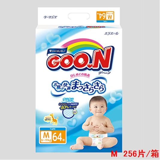 【日本大王】《GOO.N》 日本大王紙尿褲境內版(M64片x4包/箱)-)-加贈山茶花絲絨感衛生紙2串(共24包)