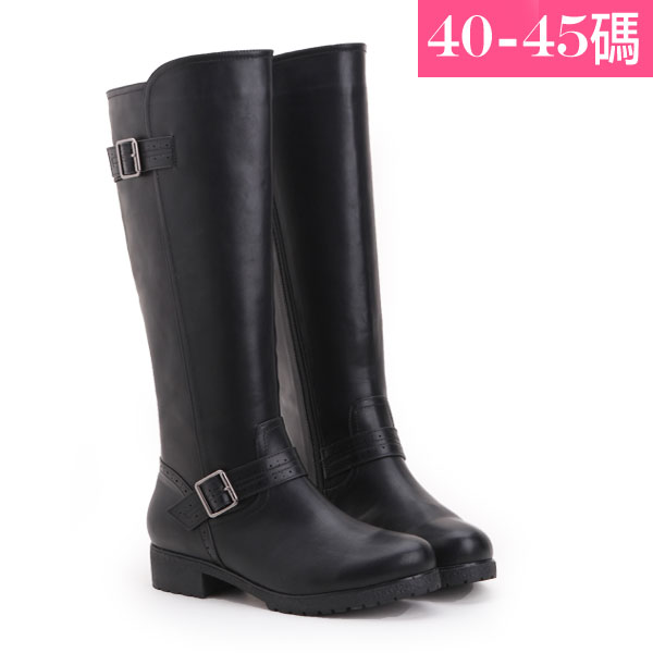 大 女鞋~釦環及膝長靴/靴子 40~45碼 黑色~ZX70044❤172巷鞋舖~