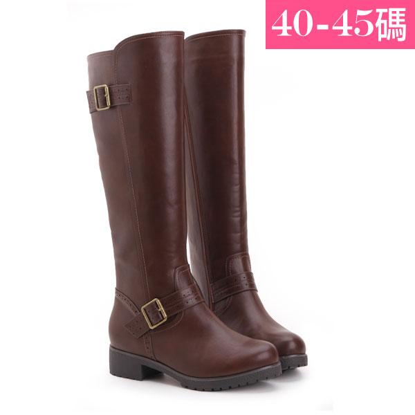 大 女鞋~釦環及膝長靴/靴子 40~45碼 深棕~ZX70044❤172巷鞋舖~