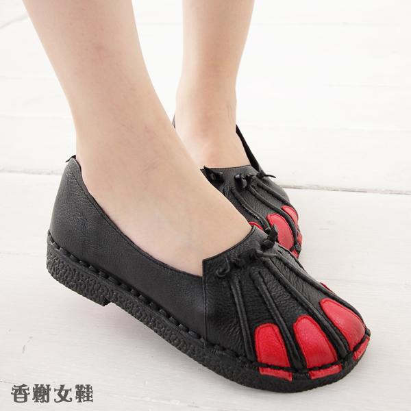 香榭女鞋~真皮拼接軟底舒適懶人娃娃鞋 ~QCF267~