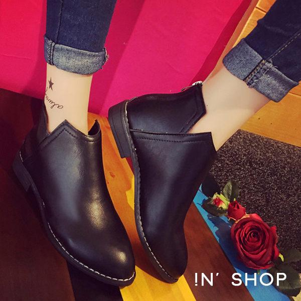 IN' SHOP 尖頭鞋~側V切口機車短靴 ^( ^(共2色^)~KF00067~