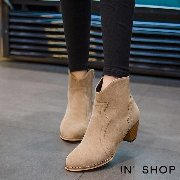 IN' SHOP 低跟靴~ V口雕花麂皮西部短靴 ^(共2色^) ~KF00068~