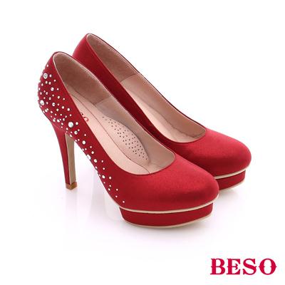 BESO◆都會摩登女郎 絕美氣質緞面貼鑽高跟鞋^~紅色