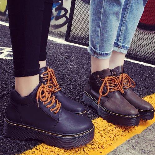 馬汀靴. 綁帶厚底工程短靴.白鳥麗子