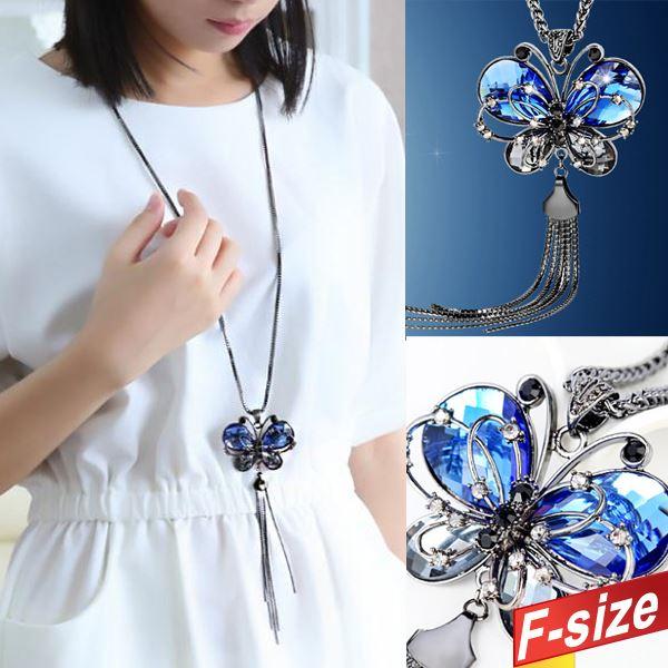 藍色鑲鑽蝴蝶長鏈 F~size~996270W~~現 預~~ 前線~