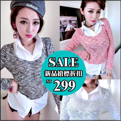 克妹Ke~Mei~AT32186~KOREA名媛公主風混針織立領襯杉式小洋裝