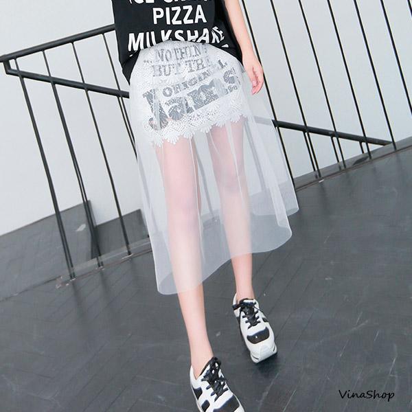 5折~vina shop夢幻網紗假二件式拼接布蕾絲短裙中長裙 SK902