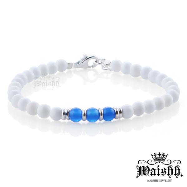 Waishh玩飾不恭~白色之戀 唯美藍~925純銀瑪瑙玉髓串珠手鍊 FL050A