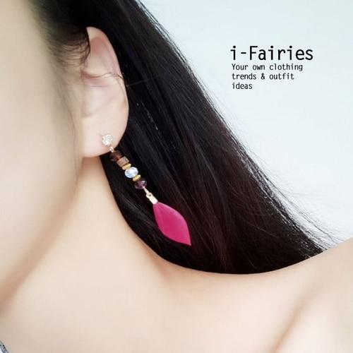 波西米亞風格天然羽毛水晶 耳環耳飾~SL32283~