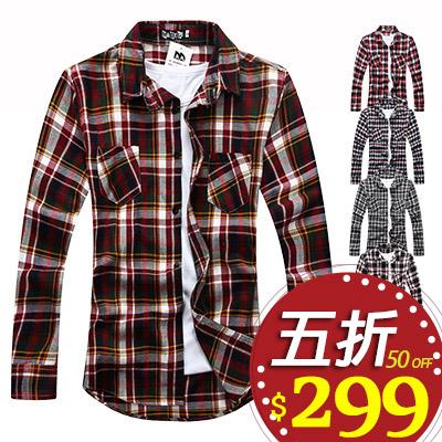 格紋襯衫 Free Shop ~QMD86031~ 百搭 潮流彩色蘇格蘭格紋 長袖襯衫‧六