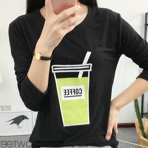 彼兔 betwo.長袖T恤 PJB~百搭素色咖啡插畫膠印竹節棉薄款長袖T恤~830~AO~
