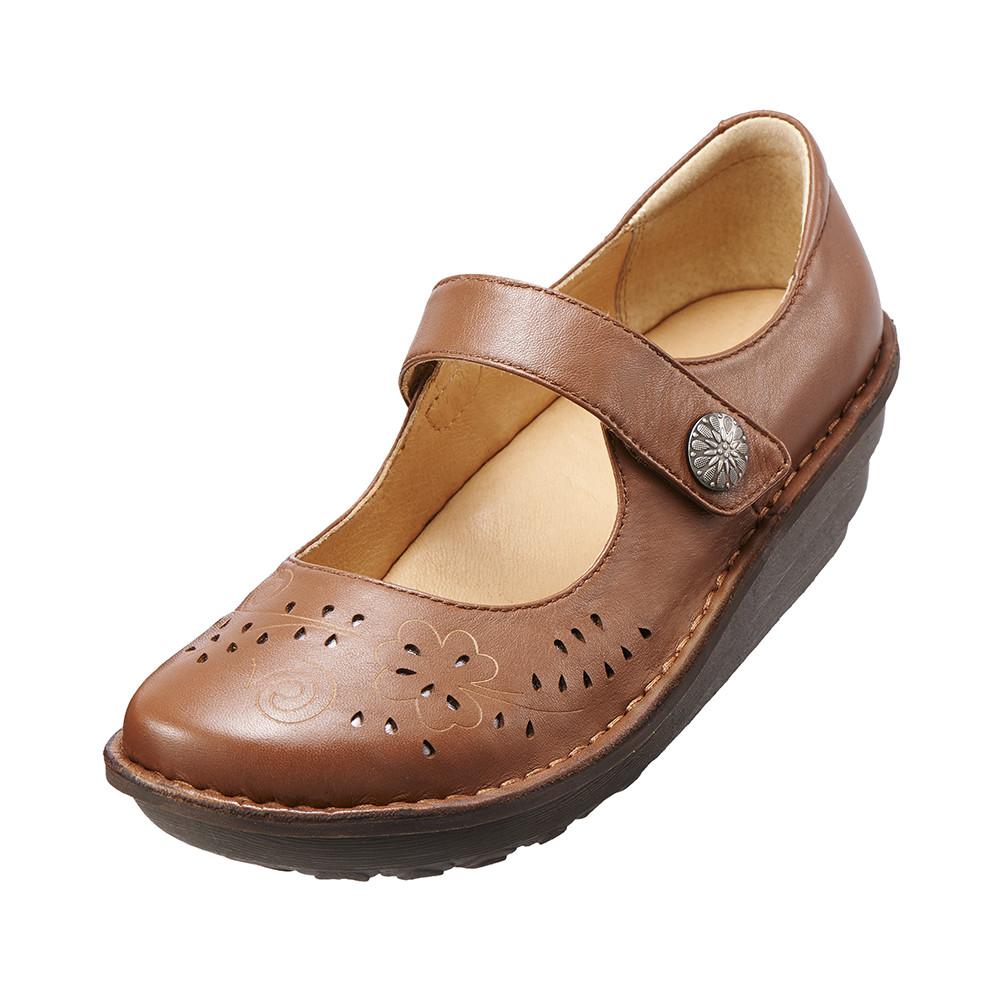 減壓典雅厚底手縫鞋^(風情棕K15WF011585^)牛皮‧手縫鞋‧舒適寬楦~Kimo德國