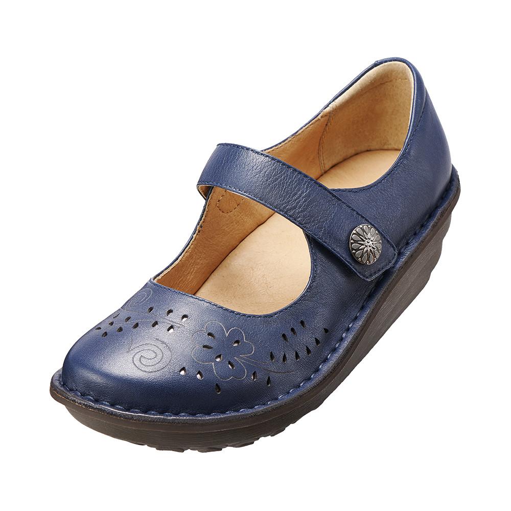 減壓典雅厚底手縫鞋^( 藍K15WF011586^)牛皮‧手縫鞋‧舒適寬楦~Kimo德國品