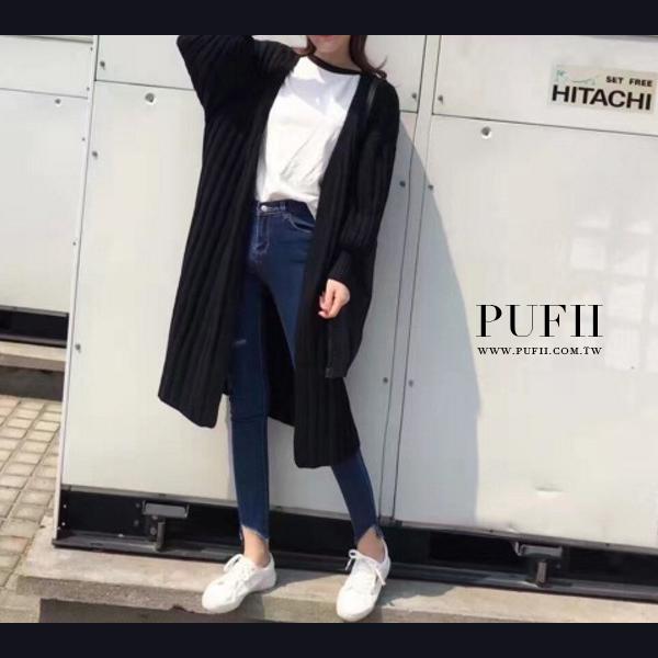 5折~ ~針織外套 PUFII 開襟坑條直紋縮口長版針織毛衣外套 2色 ~ PUFII 1