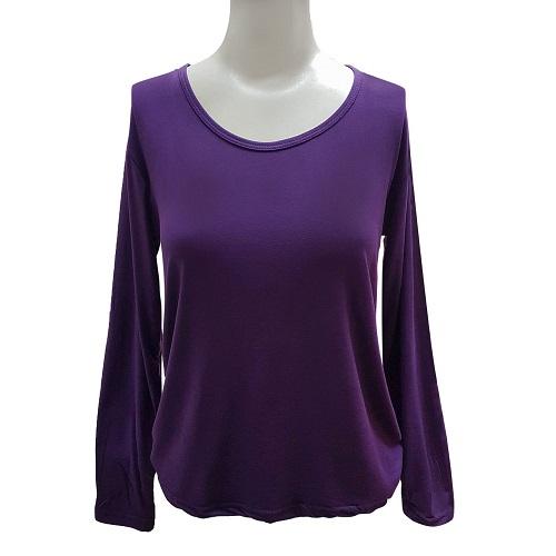 【LOZY】圓領女絨毛保暖衣Free Size(深紫)
