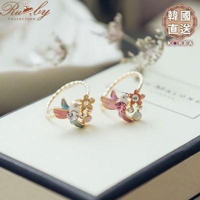 戒指 韓國直送水鑽花朵小鳥 指環戒指~07010127~~Ruby s 露比午茶