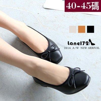 大 女鞋~真皮方頭素色平底鞋/OL鞋/通勤鞋工作鞋40~45碼~BD15012A~❤172