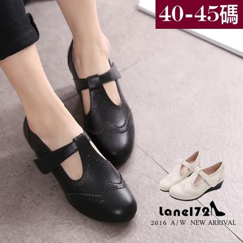大 女鞋~真皮楔型跟皮鞋/OL工作鞋/雕花跟鞋40~45碼~BD15011~❤172巷鞋舖