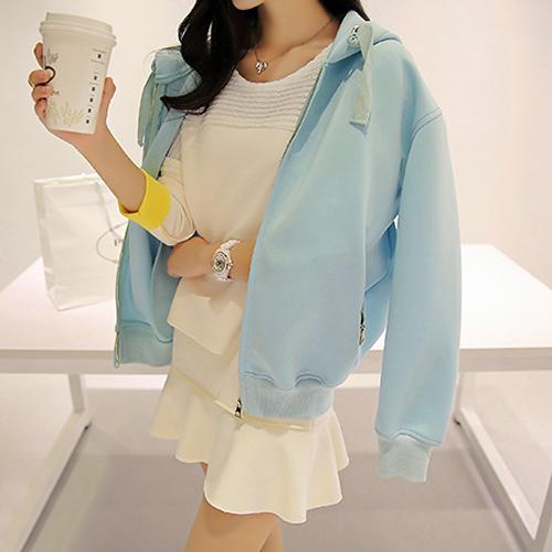 四葉幸運草~EF524A005~粉嫩純色拉鍊口袋抽繩長袖連帽外套^~4色