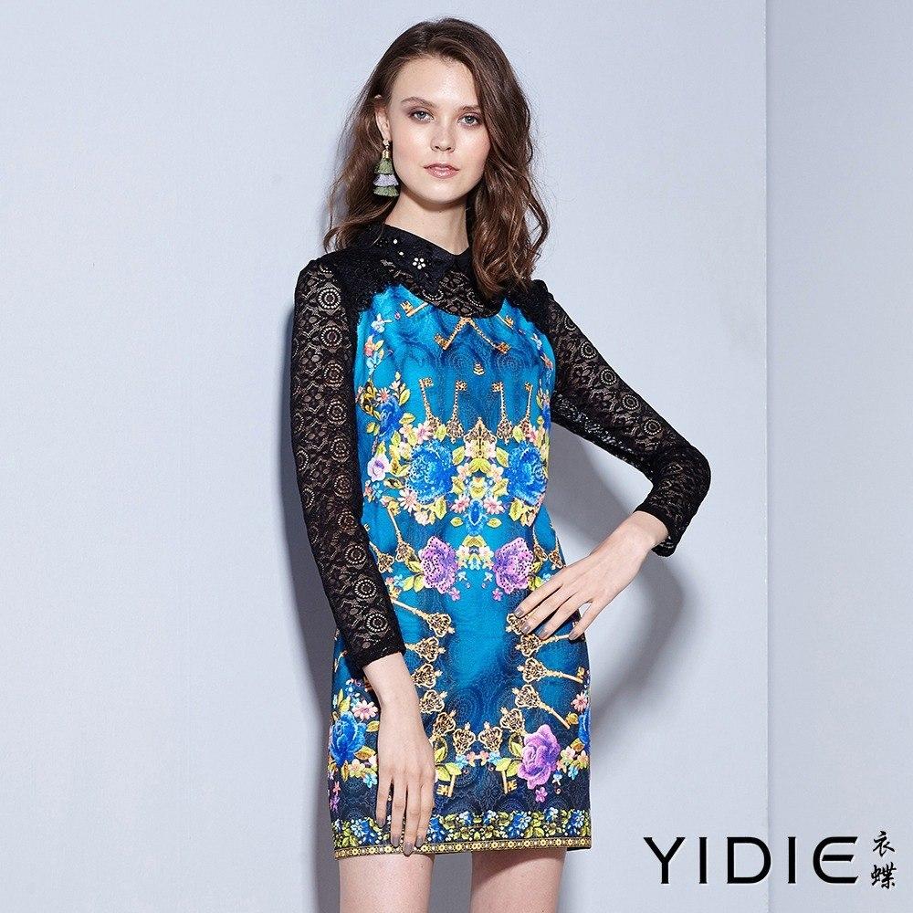 ~YIDIE衣蝶~細巧鑽領滿版印花後拉練蕾絲袖短洋裝