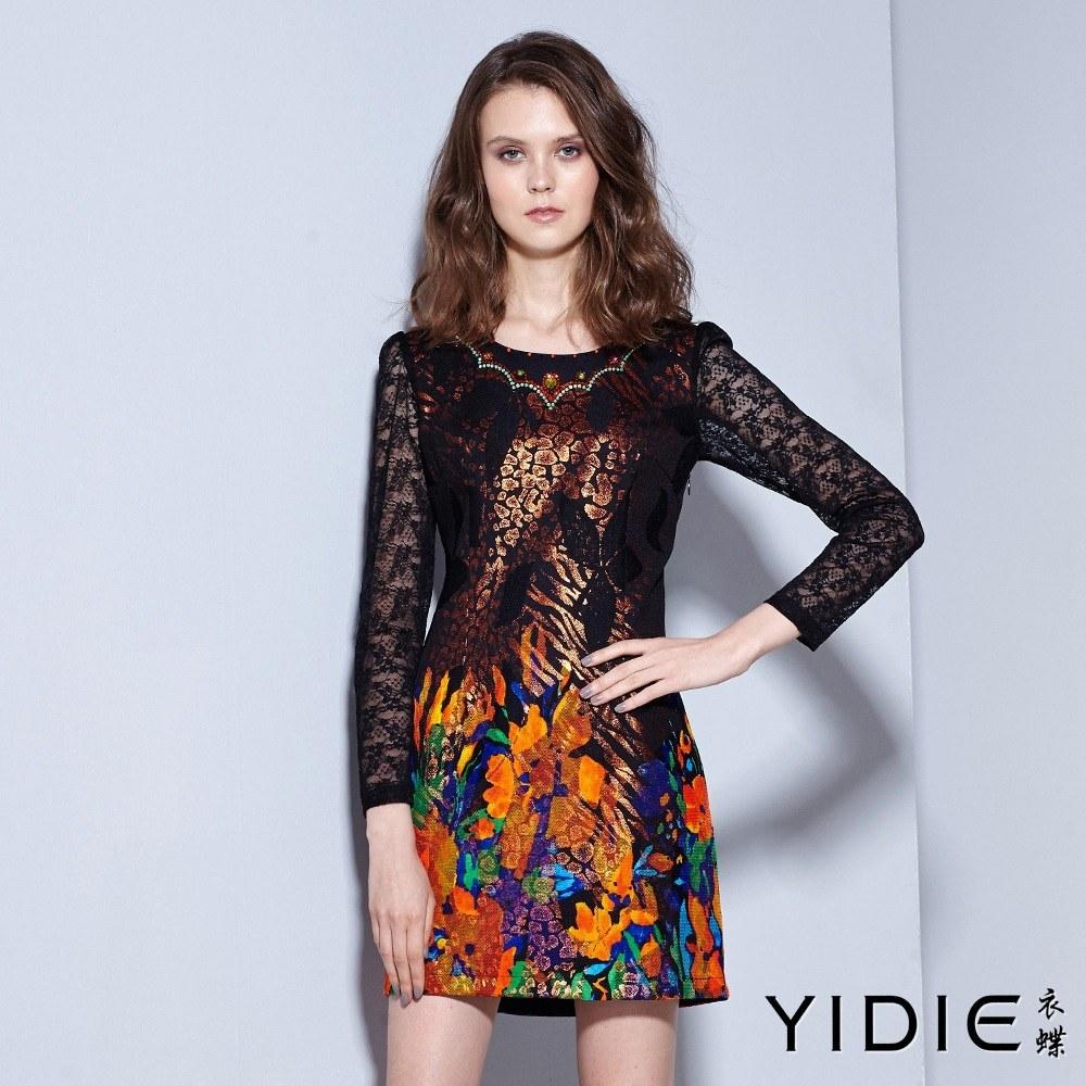 ~YIDIE衣蝶~彩鑽領邊滿版印花鏤空蕾絲袖短洋裝