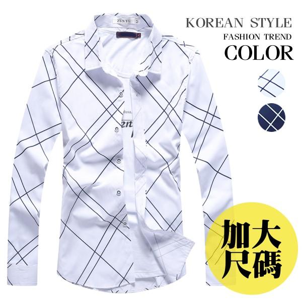 加大 ,M^~3L, 感菱形格紋長袖襯衫^(二色^)~RTJBN9906~