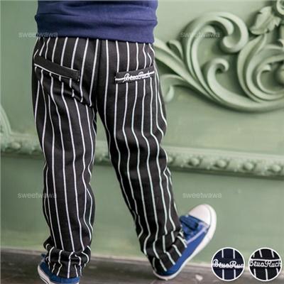 ~水娃娃 ~英倫小紳士直條假口袋長褲 條紋 鬆緊 復古 線條 棉質^(220379^)