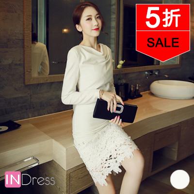 ~ ~清新脫俗純色堆領拼接鏤空蕾絲繡花洋裝連身裙~1色~450123~