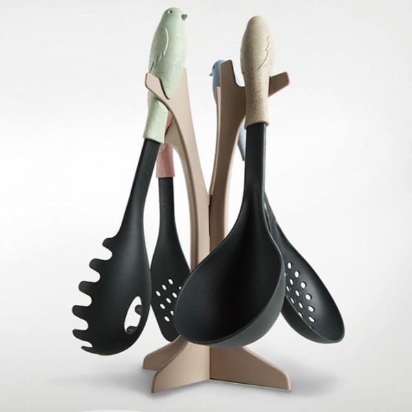 鍋鏟套裝 不粘鍋鏟勺湯勺炒菜尼龍矽膠鏟子廚具套裝五件套~櫻桃飾品~ ~24774~