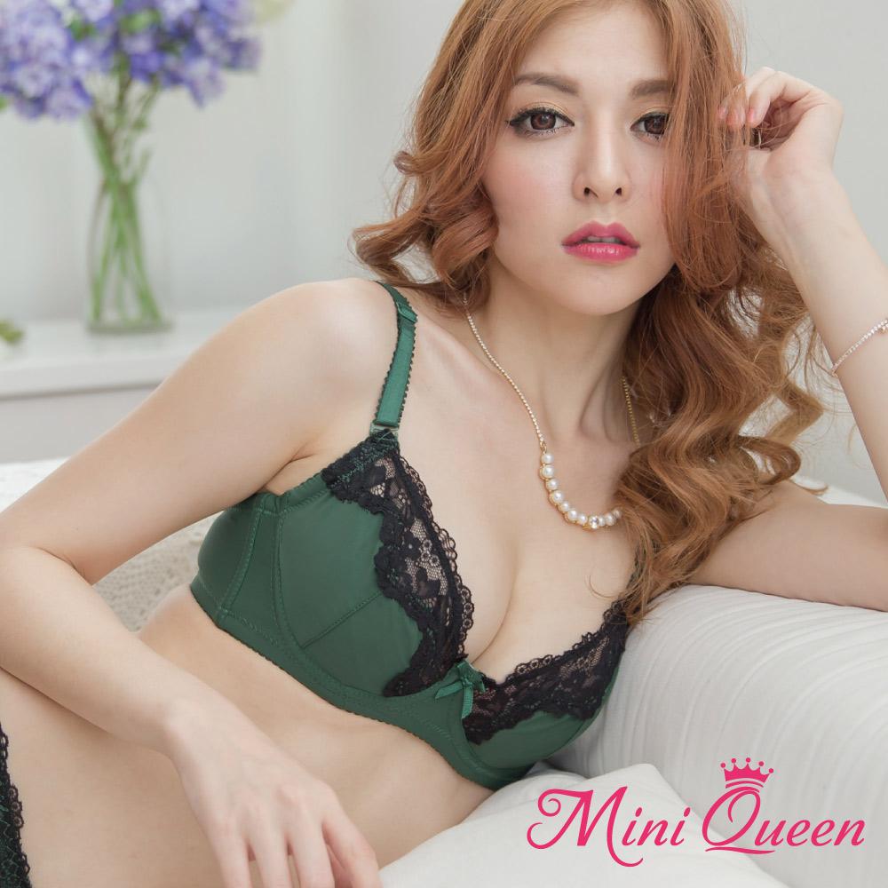 薄襯內衣~漫情倫敦~MiniQueen法式性感蕾絲薄襯成套內衣~綠色^(70~80)