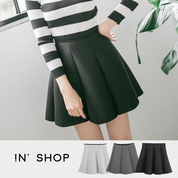 IN' SHOP 短裙~條紋太空棉高腰鬆緊帶褲裙 ^(共3色^) ~KT20200~