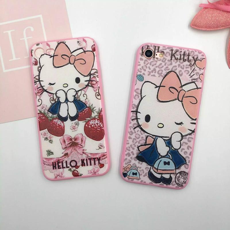 iphone i6 s i7 plus粉邊蠶絲 草莓 手拿包 KT 凱蒂貓 矽膠 軟殼 手