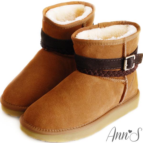 Ann'S甜蜜穿搭麻花釦帶3way真皮雪靴~棕