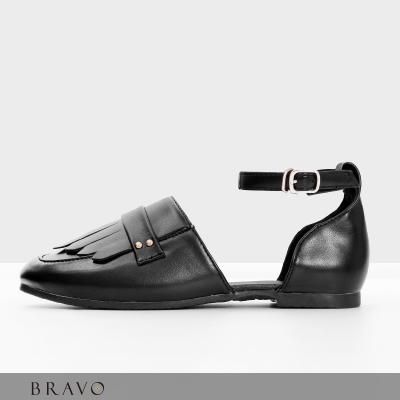Bravo~流蘇方頭樂福平底涼鞋~BR6050013TR