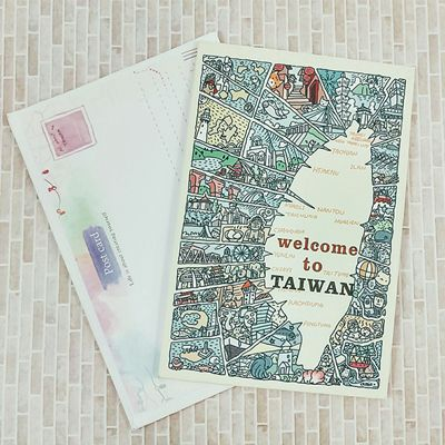 ~收藏天地~插畫明信片~立體明信片~welcom to TAIWAN/ 送禮 旅遊