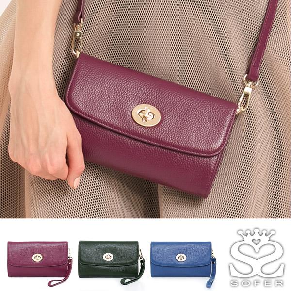 ^(結帳1314^)SOFER 牛皮旋釦手拿包 ~ 紫紅