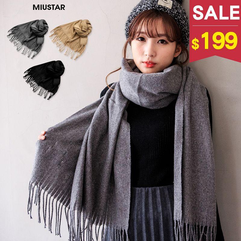 ~  199~MIUSTAR 必買好搭溫暖混羊絨圍巾^(共3色^)1206 ~ND5744