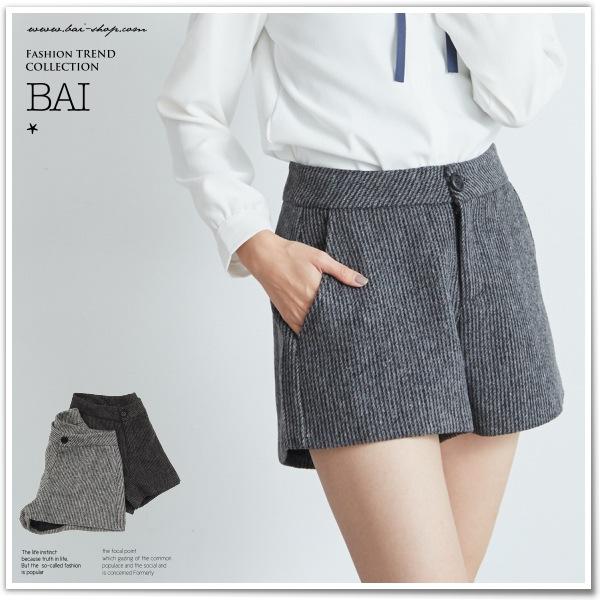 短褲 混色線條紋傘擺單釦高腰毛呢短褲M~L號~BAi白媽媽~256934~