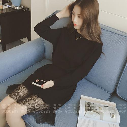 ~ 450 299~DEC16 洋裝 氣質拼接蕾絲擺針織連身裙~090865~1色   嘉