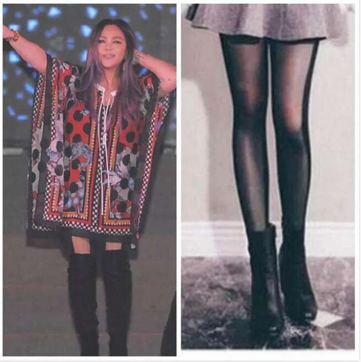 張惠妹同款 顯瘦雙色絲襪 瘦腿效果讚