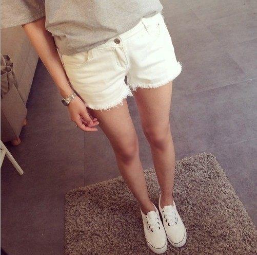 女裝白色 牛仔短褲 熱褲 破洞毛邊 顯瘦短褲女潮 牛仔褲 短褲 鬚鬚~DIFF~