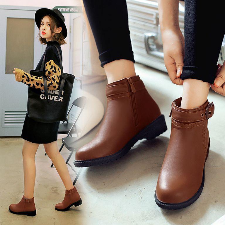 ^~丁果 ^~大 女鞋33~43►2016 低跟短靴 英倫學院風扣帶環側拉鍊馬丁靴3色