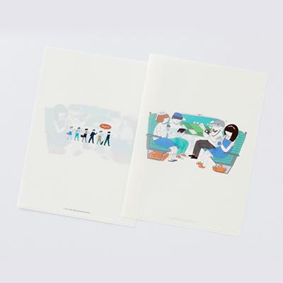 【台灣高鐵】通車10週年紀念商品-許匡匡插畫A4文件夾-情境(白)