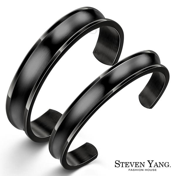 情人手環STEVEN YANG西德鋼手環~微甜深刻印痕~霧面黑色^~單個 ^~情人節禮B6