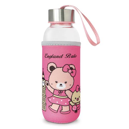 【英國貝爾】熊隨身玻璃瓶-粉(300ml)*1